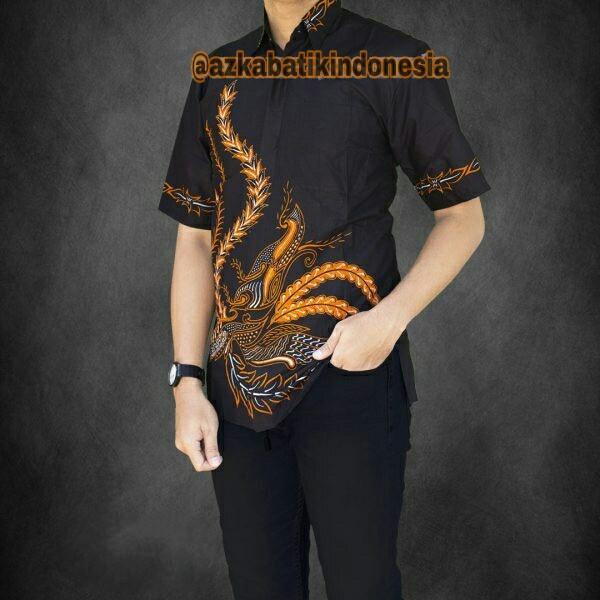 Model Kemeja Batik Pria Kemeja Batik Pekalongan Kemeja Batik Modern Motif Arjuna Orange