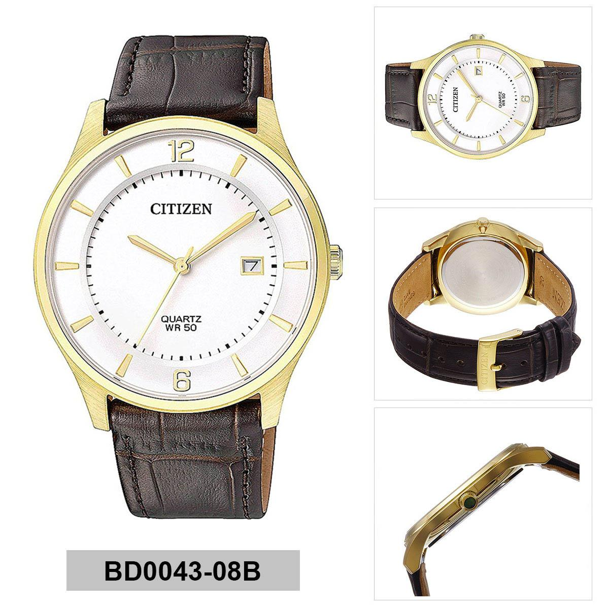 Citizen Citizen WR 50 Brown Stainless-Steel Case Leather Strap Mens NWT + Warranty BD0043-08B