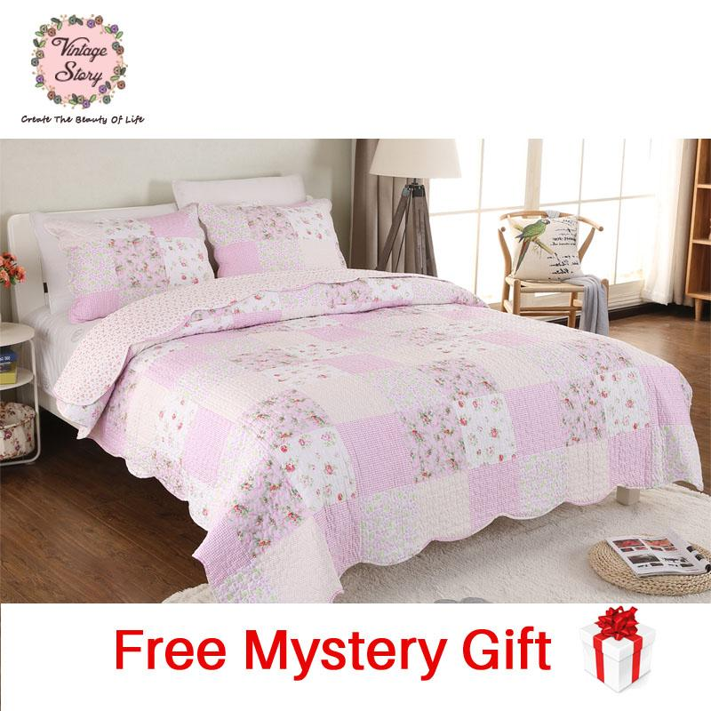 Vintage Story -Shabby Bed Cover Set Size Single 150x200 cm Pink A08B
