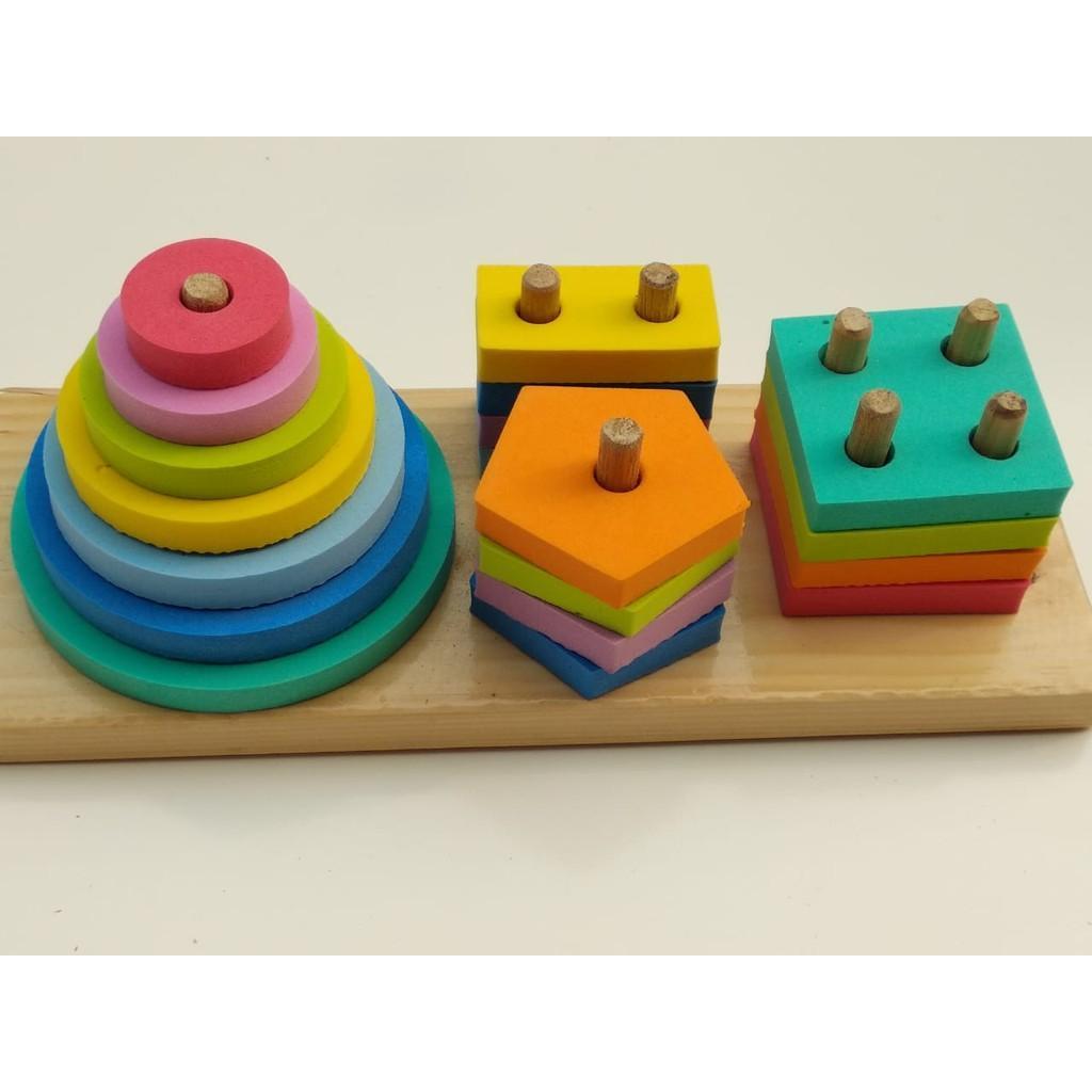 Mainan Edukatif / Edukasi Anak / Mainan Kayu - Puzzle Balok Murah- Geo 4 Bentuk