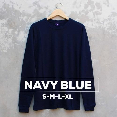 Baju Kaos Polos Lengan Panjang NAVY BLUE Biru Navi Dongker