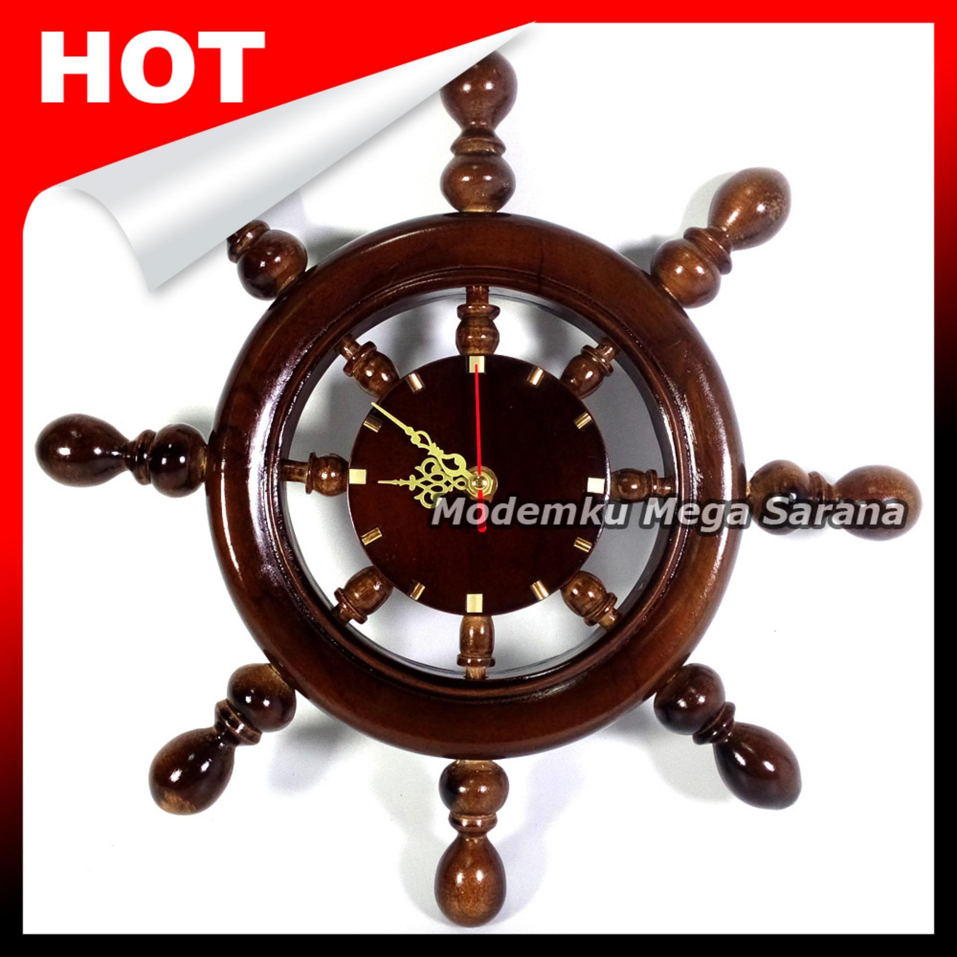 Jam Dinding Nakhoda Kayu Jati Diameter 35 cm - Coklat