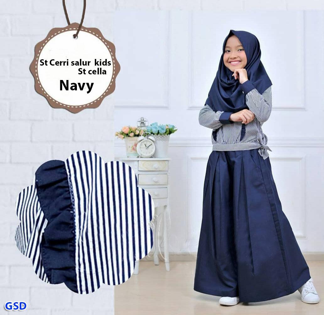 stelan cerri salur blouse muslim anak+celana kulot anak+pashmina hijab anak  e404963652