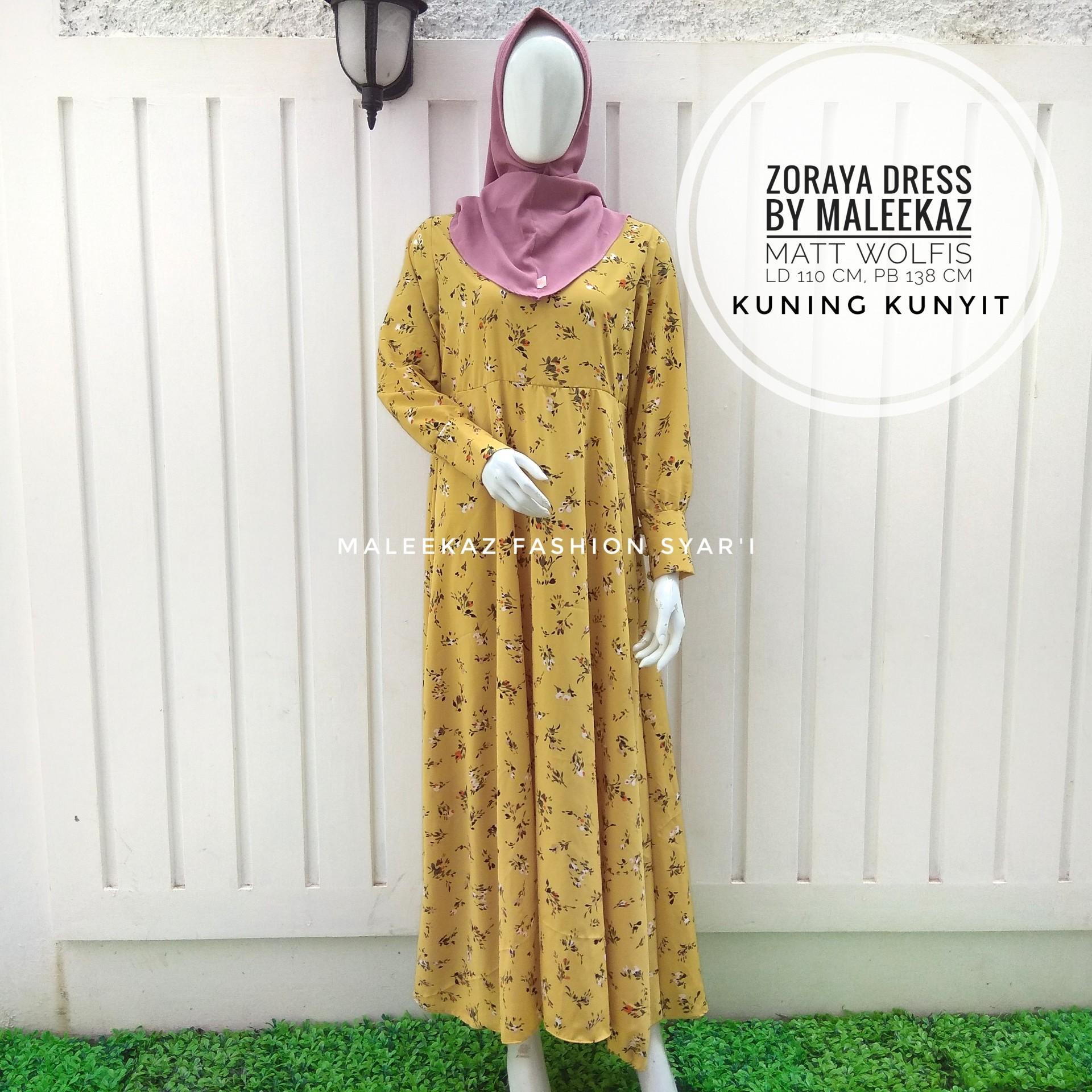 MaleekaZ Fashion Baju Gamis Syari Busui Motif Bunga Baju Fashion Muslim Wanita Syar i Gaun Pesta Muslimah Maxi Dress Lengan Panjang Long Dress
