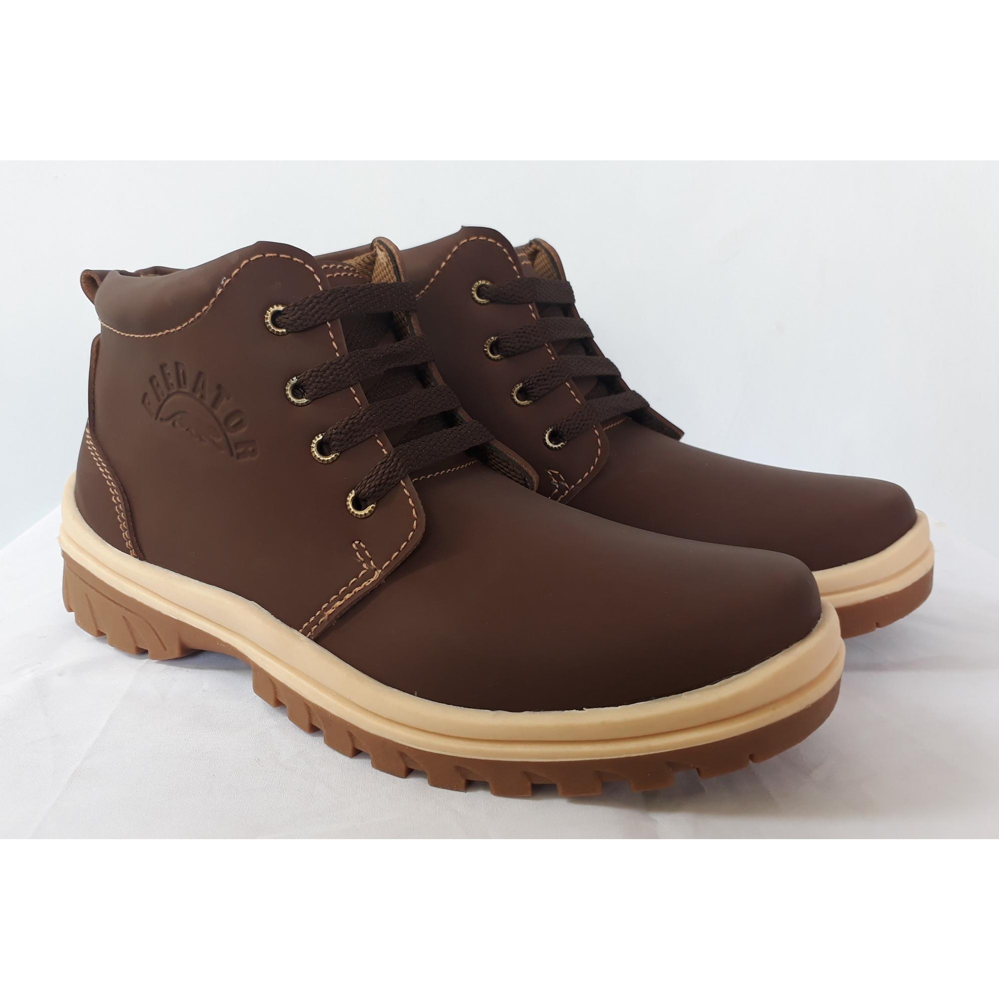 Sepatu Pria Safety Sepatu Boot Sepatu Bikers Pria Casual - Coklat Tua 3740e38341