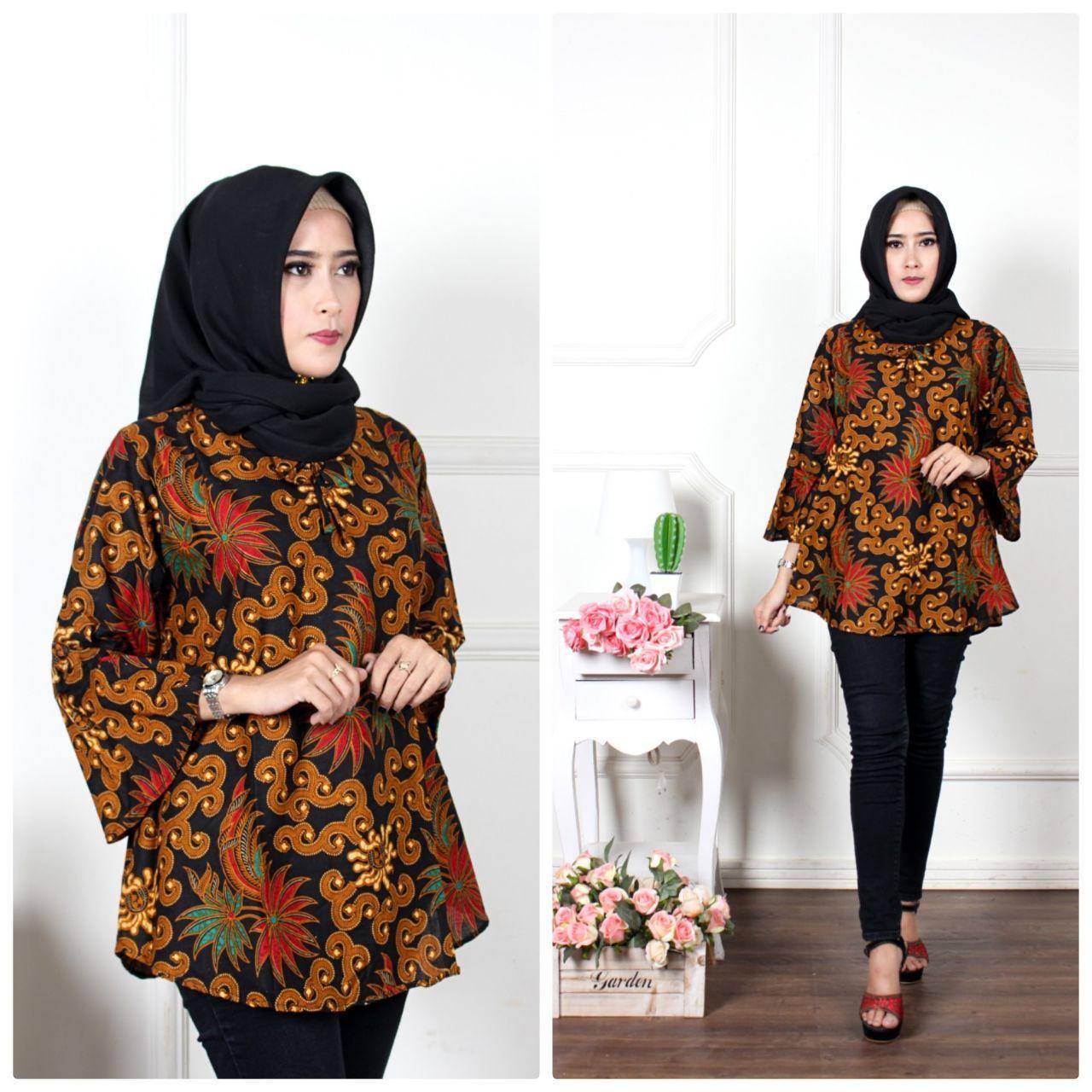 Blus Batik Atasan Batik Wanita Seragam Guru Baju Kerja Modern
