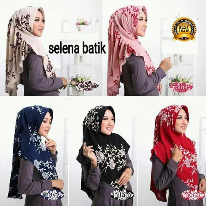 Premium Jilbab Kerudung Instant Syari (Jilbab Syar'i) Hijab Instan Khimar Selena Batik Toko Berkah Online