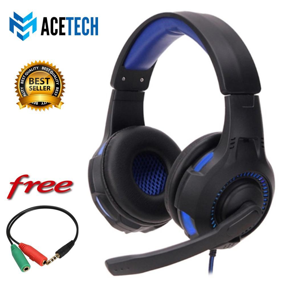 ACETECH Headphone Headset Gaming LED Super Bass Untuk Komputer Laptop PC Games Gaming Premium Gladiator FREE KABEL SPLITTER 1 TO 2