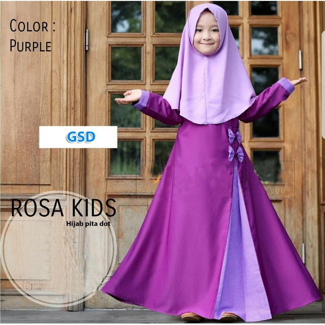 GSD-Baju Gamis Anak / Baju Muslim Anak / Baju Anak Cewek / Baju Anak / Hijab Pita Dot