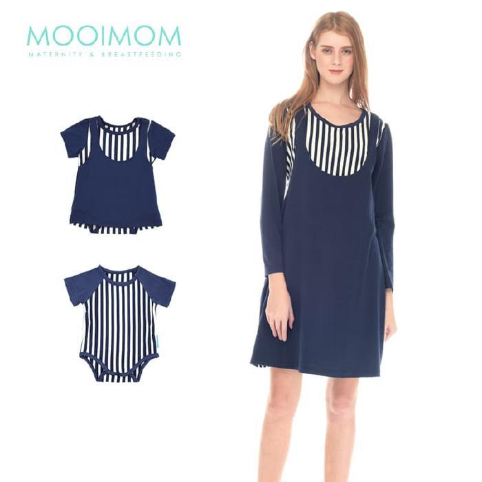 MOOIMOM Straight Stripe Long Sleeves Nursing Dress Baju Hamil Couple