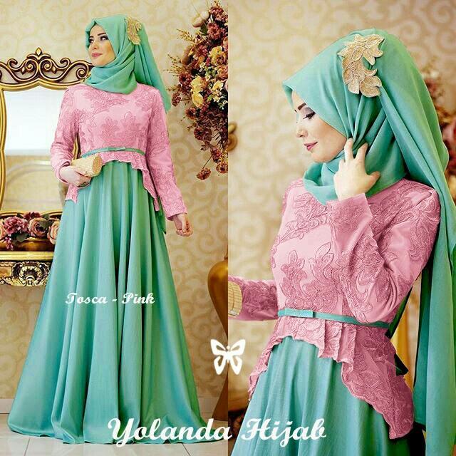 Kedai_Baju Pakaian Muslim / Baju Muslim Murah Syari Hijab / Gamis Yolanda Free Pashmina