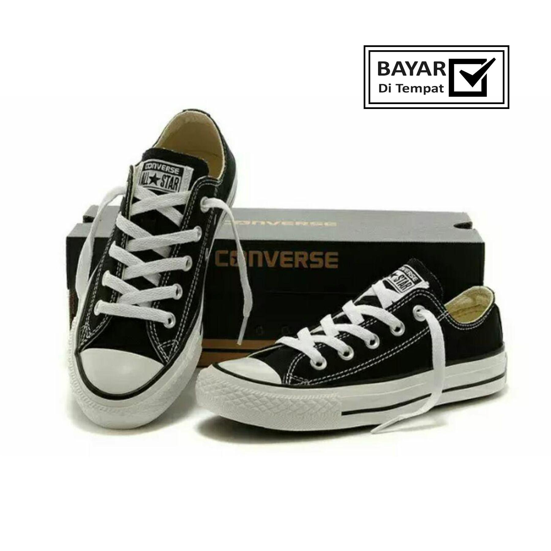 Faster Sepatu Sneakers Kanvas Pria - Hitam/Putih sneakers Cansvas pria dan wanita