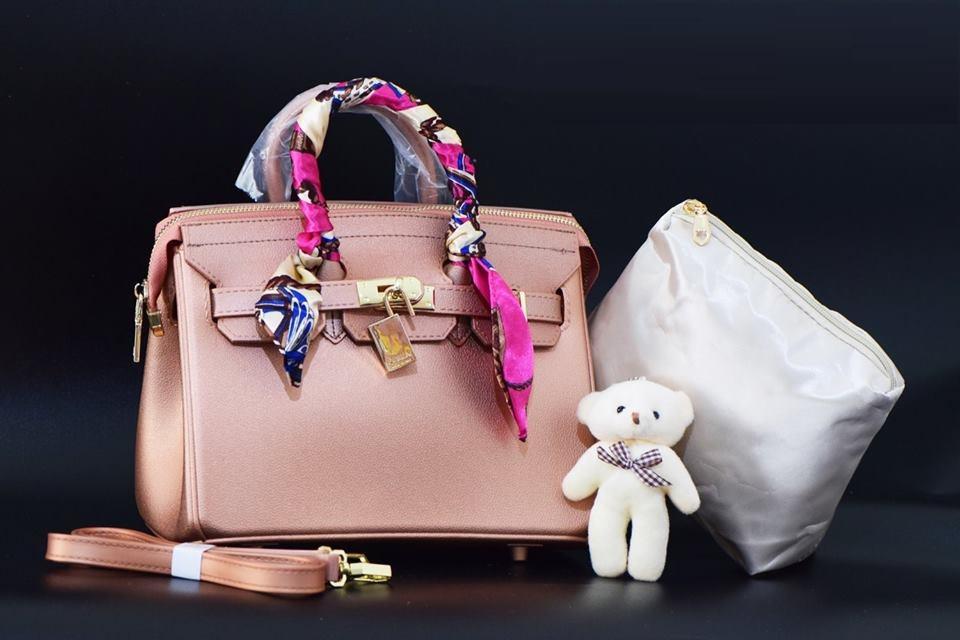 Hand Bag Tas Laptop Kerja Jelly Matte Hermes Birkin Rosegold