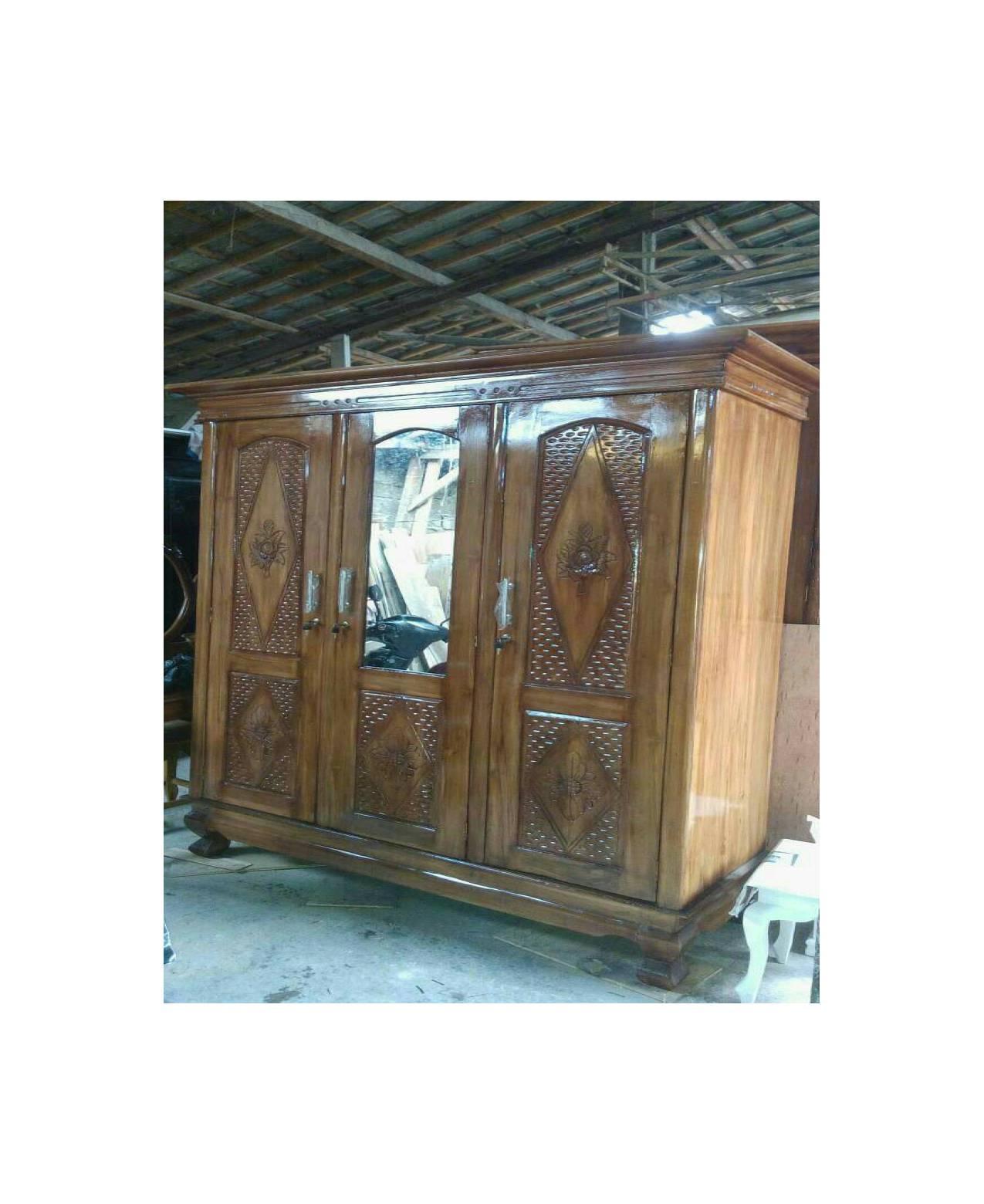 lemari pakaian pintu 3 jati cermin