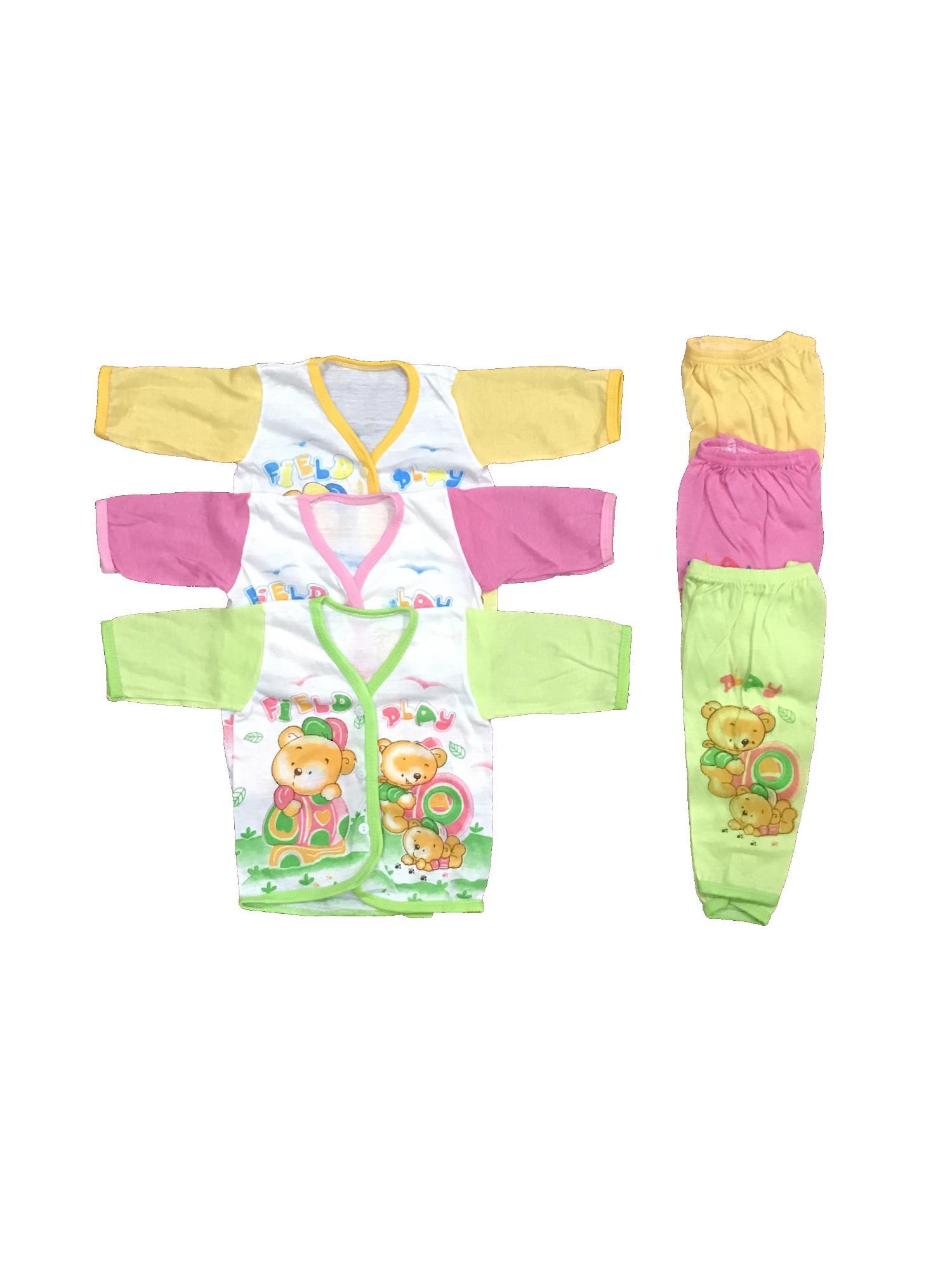 BAYIE - 3 SET Setelan Baju Bayi Lengan Panjang+Celana Panjang Motif lucu new born MELODY umur 0-3 bulan/bajurumah/anak laki-laki/anak perempuan