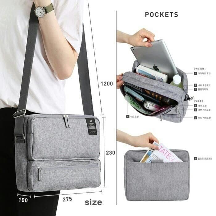 PROMO!!! Korean Grand Voyaging Bag Ver 2 / Travel Organizer / Tas Selempang - Abu -Abu Tua