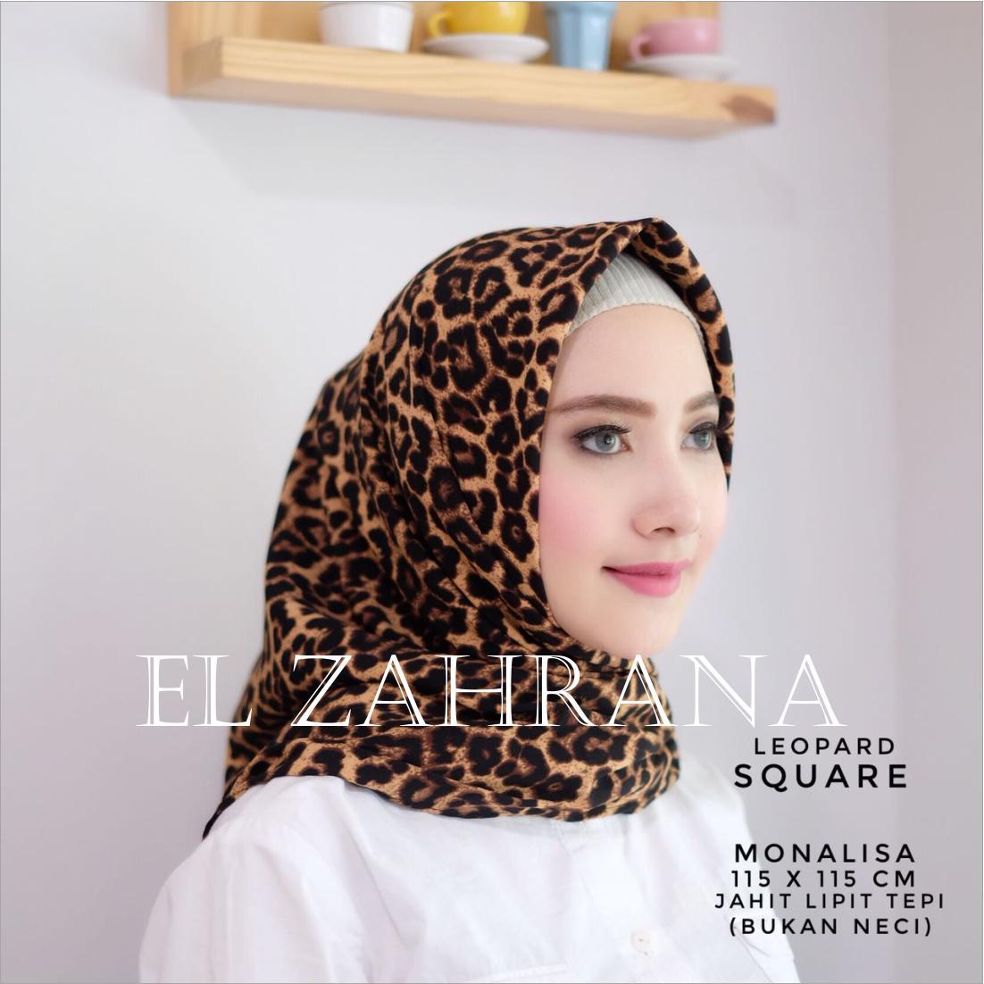 El Zahrana Kerudung Segi Empat - Jilbab Segi Empat - Jilbab Motif Monalisa - Premium Hermess