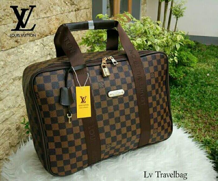 Tas Travel LV Lois Vuitton Model Koper Jinjing Besar Big Motif Damier
