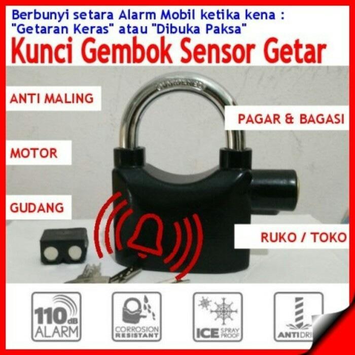 Gembok ALARM Sensor Getar Ring Panjang + Baterai Cadangan ASLI KINBAR - X9ytQ4a