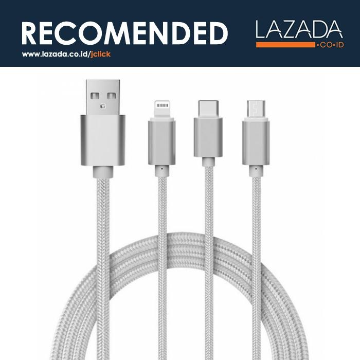 Hemp 3 in 1 Kabel USB Braided ke Micro USB + Lightning + USB Type C - Warna Silver