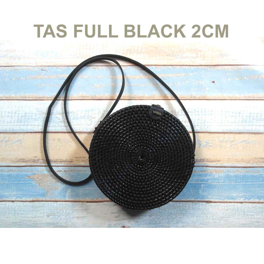 TERMURAH Tas Rotan Ate Bulat Bali 20cm  - Full Black