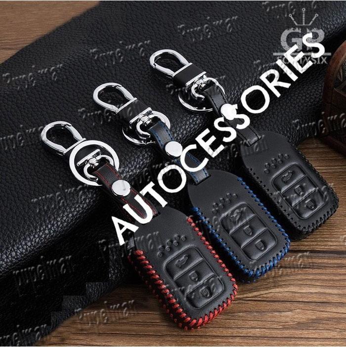KULIT ASLI - 3 TOMBOL Aksesoris CRV City Sarung Kunci Kulit Leather Cover Key Dompet Kunci
