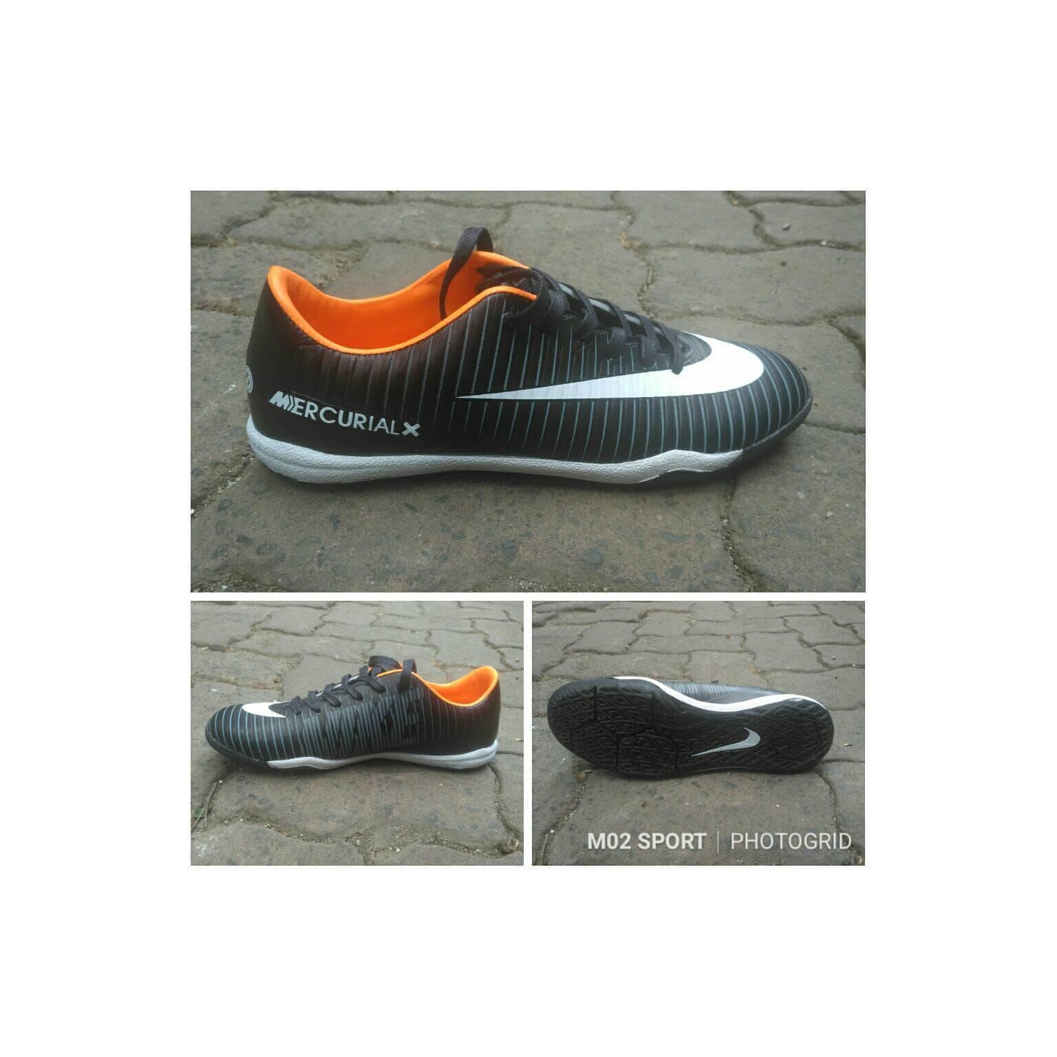 Sepatu futsal nike mercurial X hitam list putih sol karet