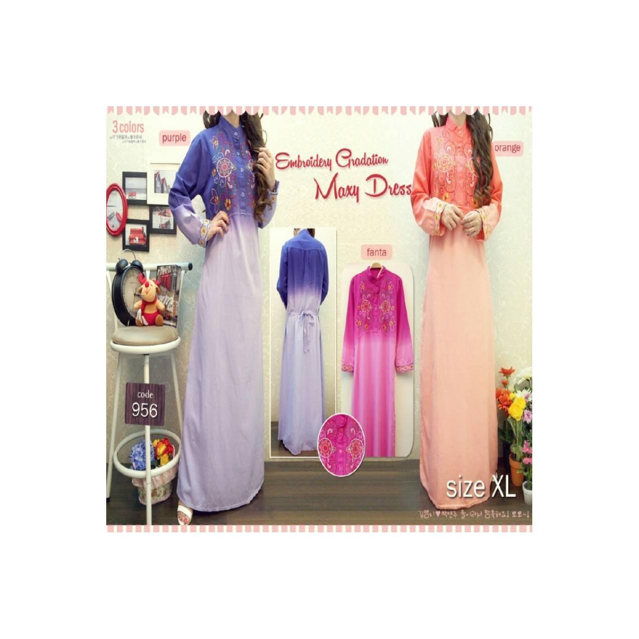 Baju Gamis Maxi Dress Rok Panjang Bordiran Soft Jeans Ungu Pink Oren