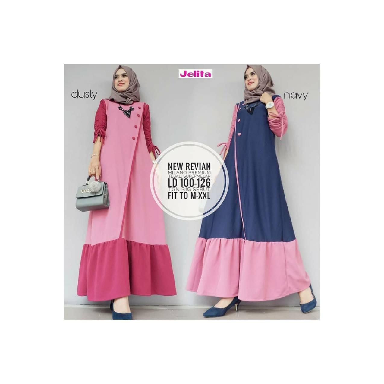 Jual baju muslim wanita murah / gamis panjang / new revian dress
