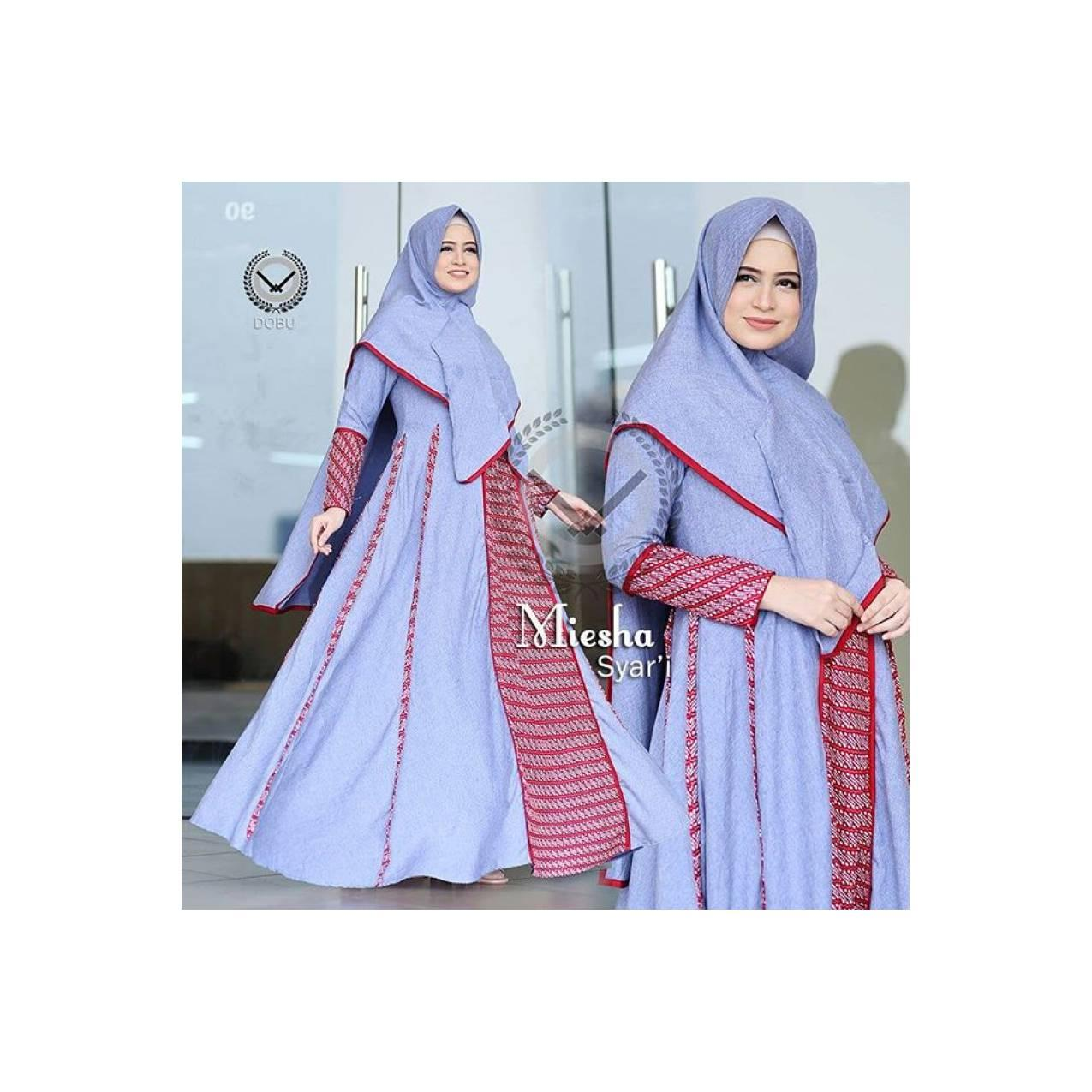 Gamis casual simple Miesha dress dobu original/gamis syari set khimar