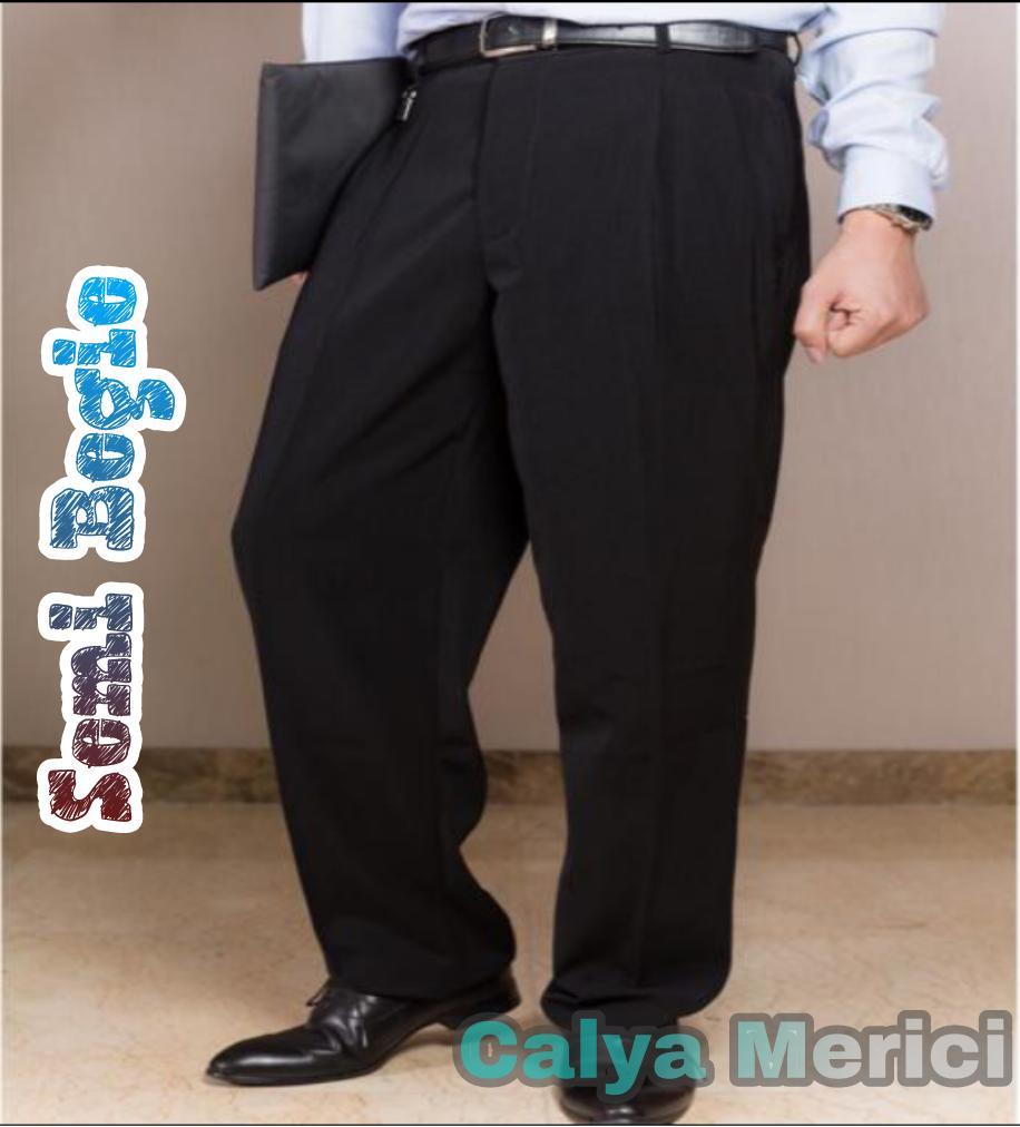 Calya Merici Celana Panjang Formal Pria Semi Biggy/Jumbo Kerja Hitam Bahan Kain Twist 27-40 Atea