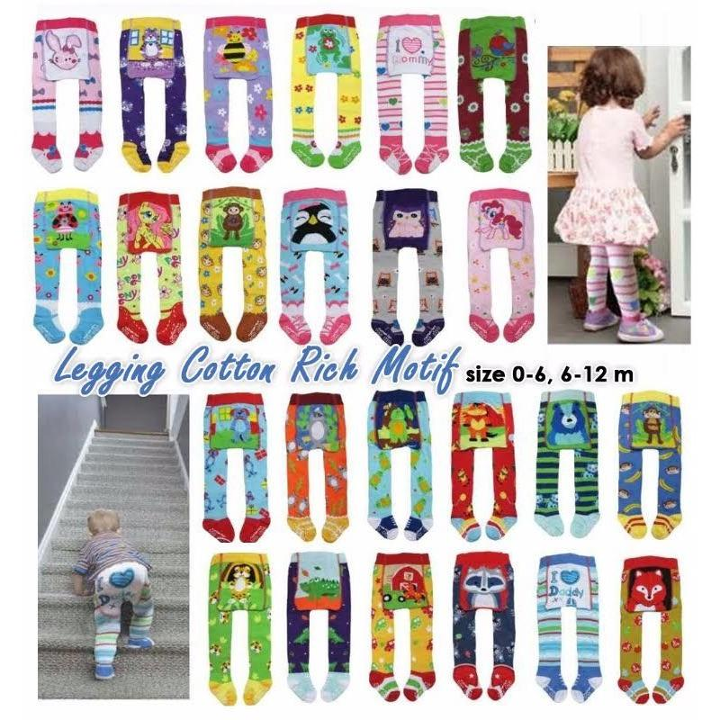 Catton Rich Paket 1 PcsLegging Bayi Tutup Kaki Mix Motif 0-12 Months - Legging Untuk Bayi Celana Panjang untuk Bayi Legging Anak Legging Lucu Legging Unik - Motif Random /Acak