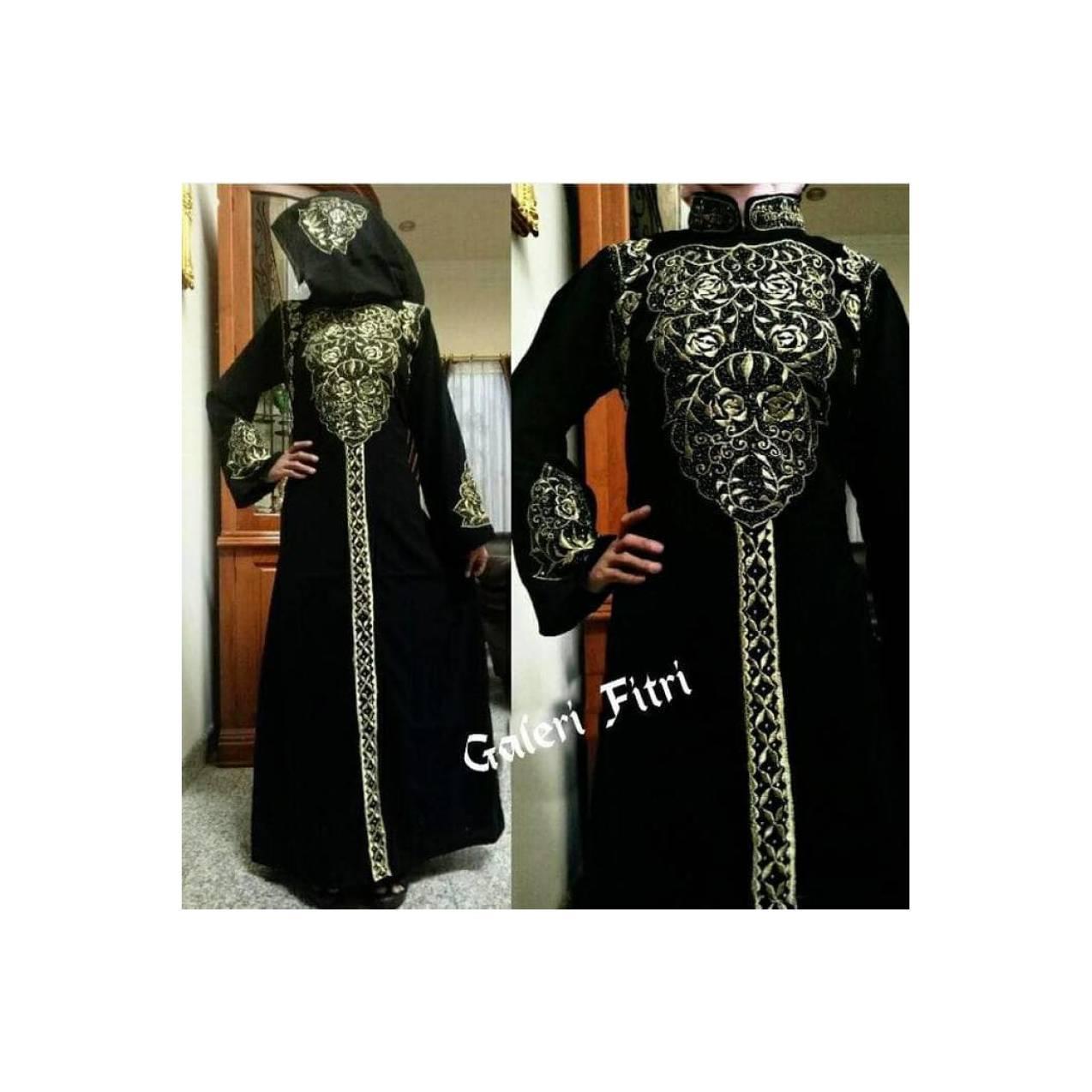 gamis pesta arab hitam baju muslim model terbaru