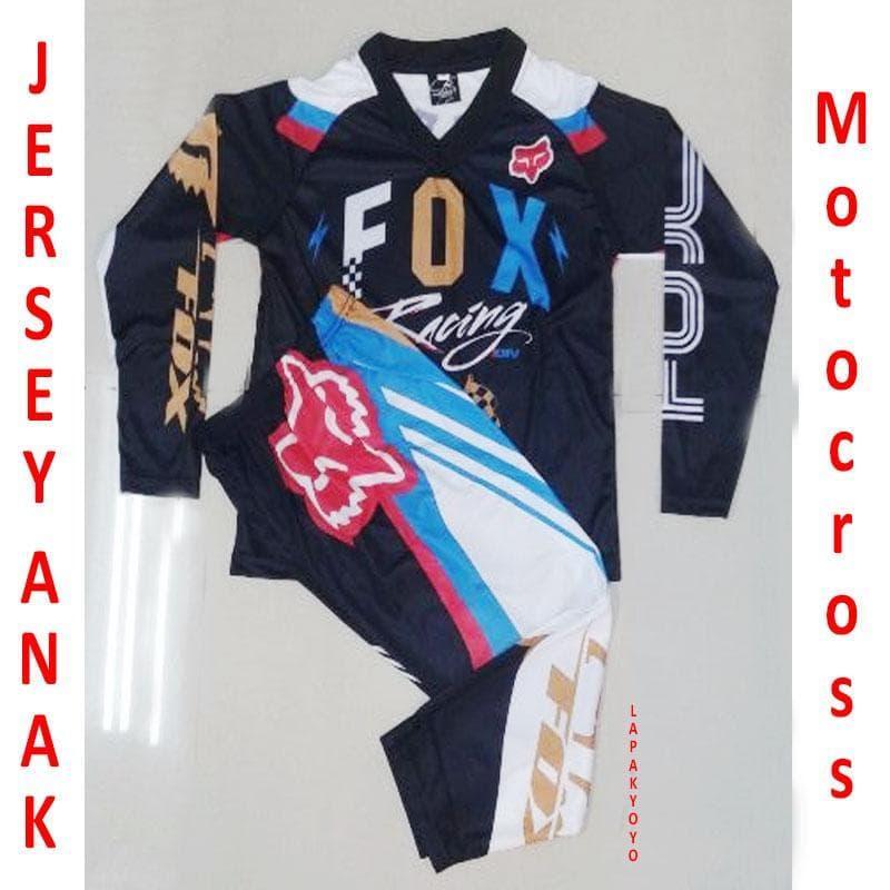 Jersey anak  Gold blue sepeda motocross setelan  GSPORT