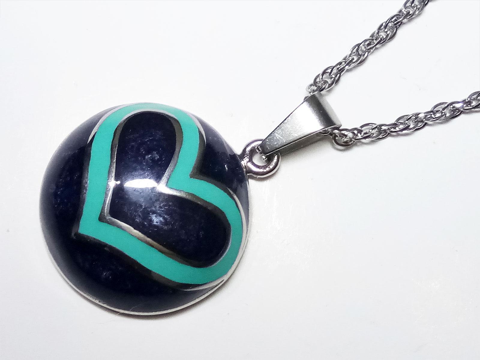 VeE Liontin Titanium Batu Bacan Cina Biru Bulat Love - Terapi Kesehatan