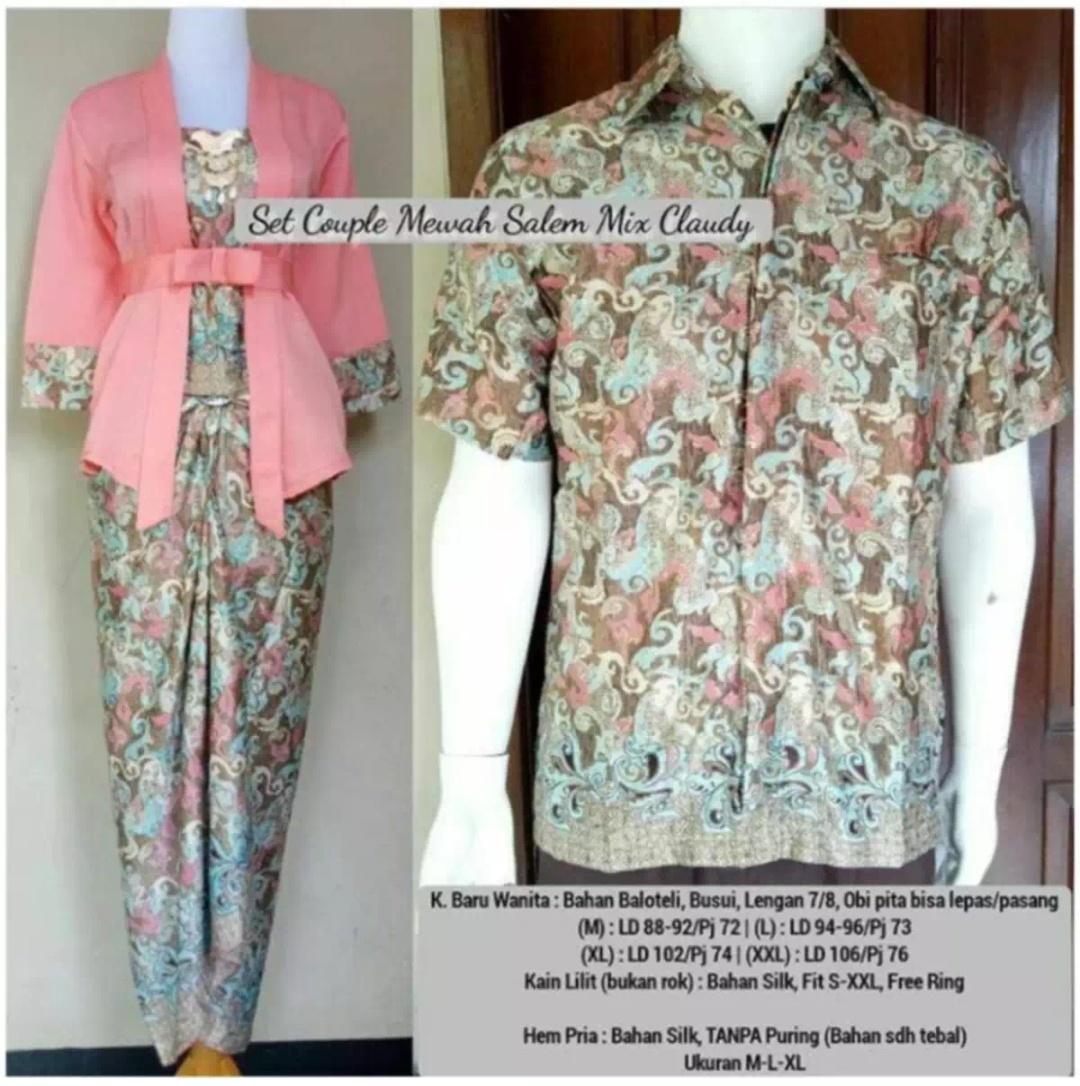 Setelan pakaian couple batik/kebaya wanita/kebaya tradisional/ Kebaya modern /kebaya couple/kebaya kutu baru keluaran terbaru