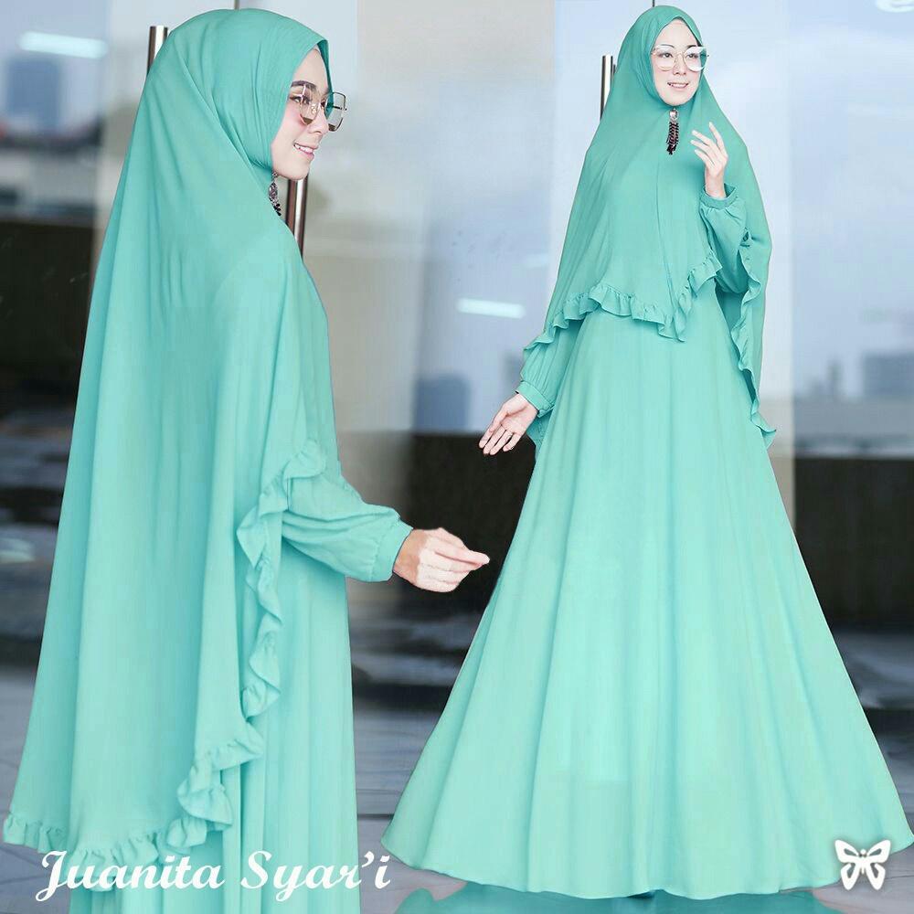 UC Baju Gamis Muslim Elvi / Maxi Dress Set 2 in 1 / Gaun Pesta Muslimah / Hijab  Syari Baju Muslim Wanita Syar'i / Gaun Lebaran Gratis Bergo SS (Anitaju)  Hijau Mint Tosca