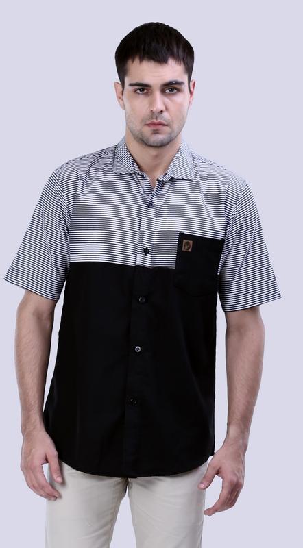 Gshp Kemeja Pria - bahan cotton Bagus & berkualitas (hitam kom)
