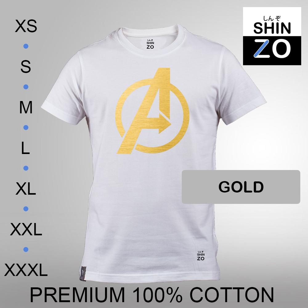 Shinzo Design - Kaos Oblong Distro T Shirt Tee Casual Fashion Atasan Cloth Anime Custom Premium Cotton Combed 30s Ring Spun Export Quality Pria - The Avengers Infinity War - White Putih