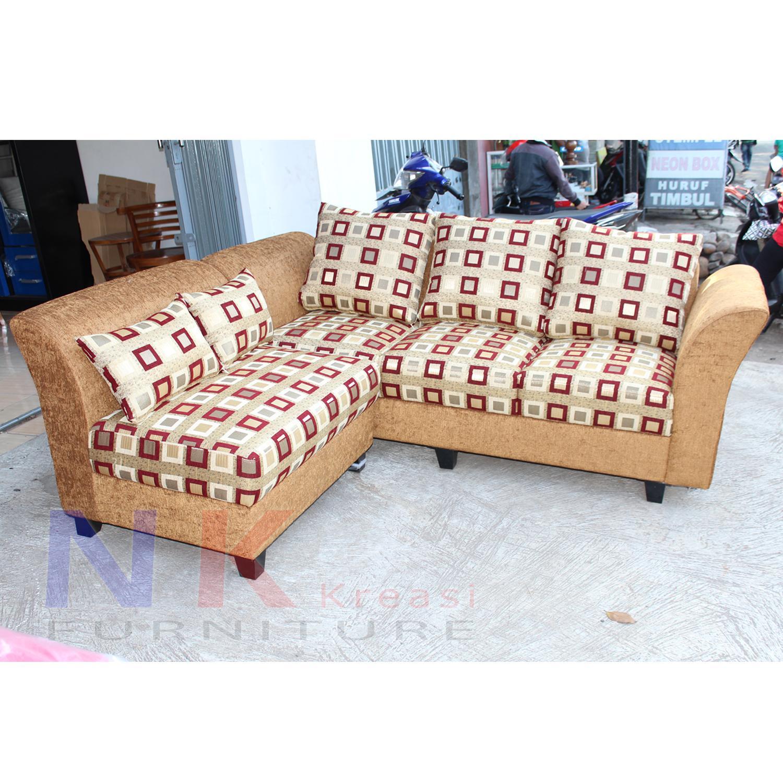 Sofa kursi Ruang Tamu L Minimalis, sofa sudut mewah + MEJA TAMU - JABODETABEK ONLY