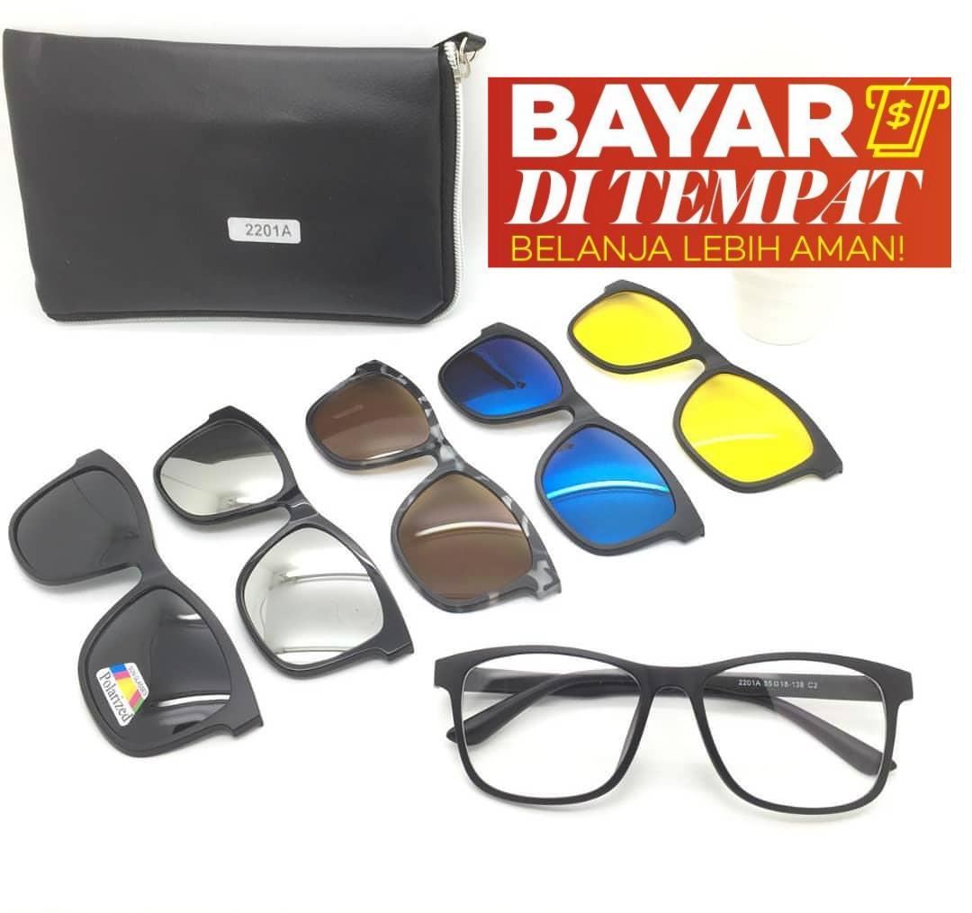 Kacamata Magnet Sunglasses Clip On 5 Lensa Super Fullset - Kacamata Clip On 5 Lensa - Kacamata Pria dan Wanita - Kacamata Trend - Kacamata Gaya - Kacamata Hitam - Kacamata Anti Silau - Kacamata Fashion Pria Wanita - Kacamata Polarized
