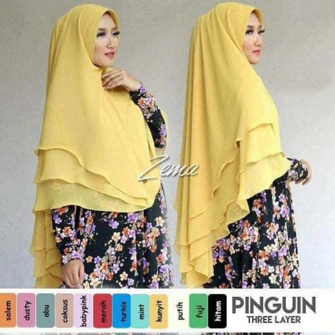Disc 30% Khimar Pinguin 3 Layer Kinara /Grosir Jilbab Hijab Kerudung Murah | Baju Lebaran Muslim