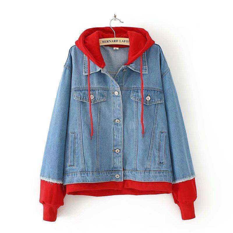 Tambah besar baju wanita 18 musim semi dan musim gugur model baru MM longgar  hoodie Sambungan abcca80b3a