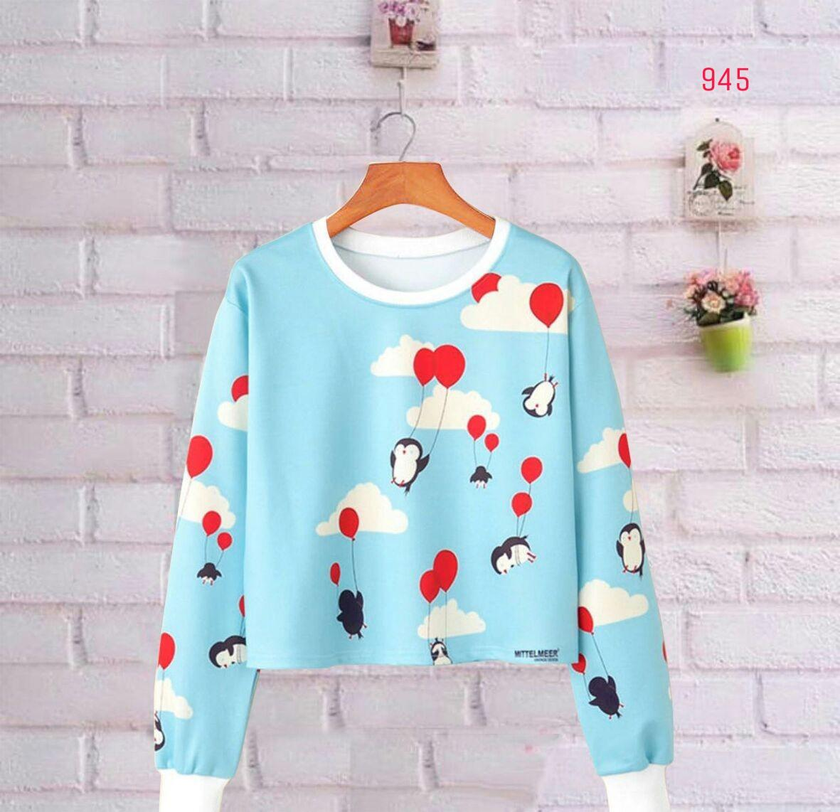 MichelleStore Sweater Wanita Crop Sky Pinguin - Blue