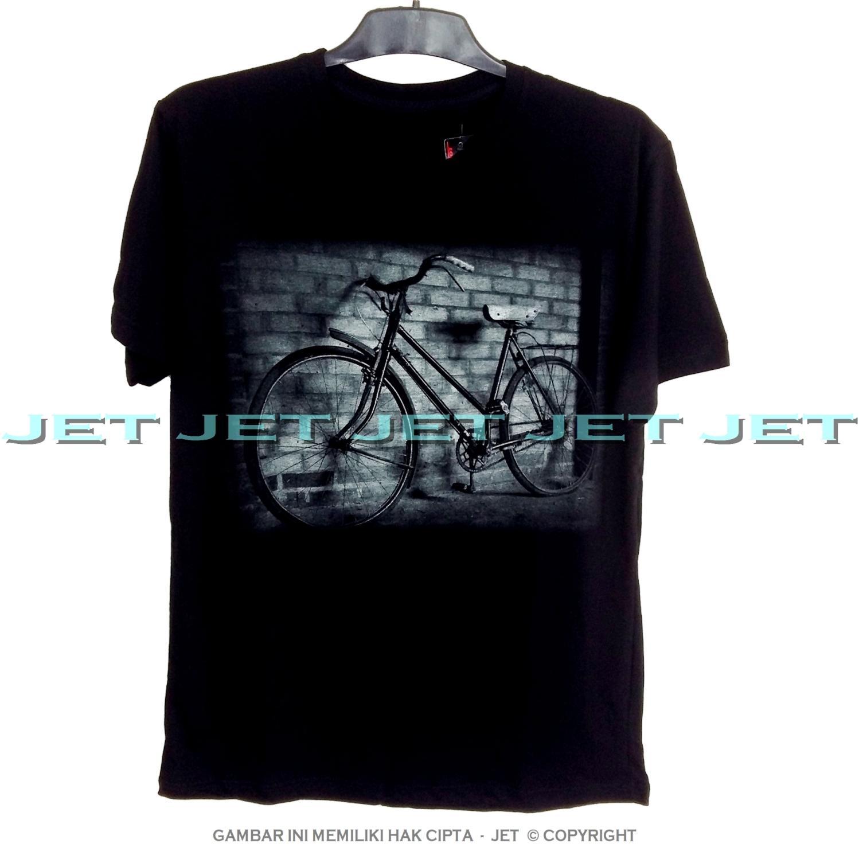JeT - Black T-Shirt Premium Cotton Combed Depan Belakang Racertees Sepeda Ontel Gunung Balap Vintage
