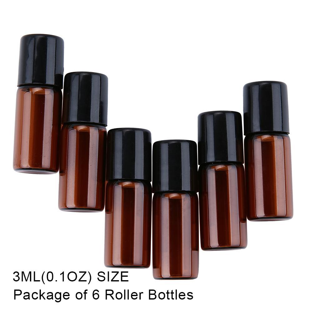 Jvgood Amber Kaca Gulungan-On Botol dengan Bola Alat Penggulung Anti Karat untuk Minyak Atsiri, Aromaterapi, parfum dan Balsem Bibir, Set 6