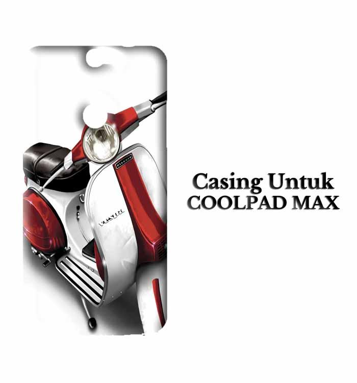 Casing Coolpad Max red and white vespa original Custom Hard Case Cover