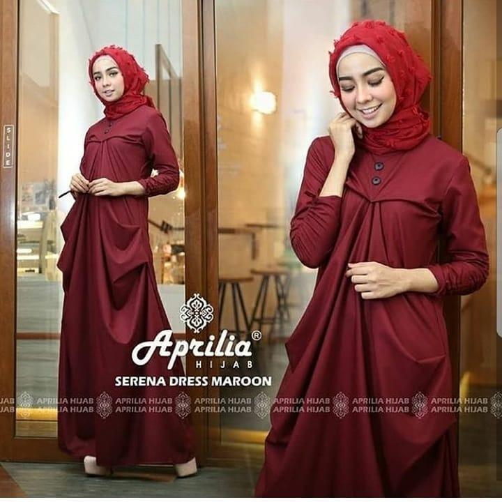 Baju Muslim Original Gamis Serena Dress Baloteli Baju Panjang Muslim Dress Casual Wanita Pakaian Hijab Modern Gamis Modis Trendy Gaun Terbaru 2018