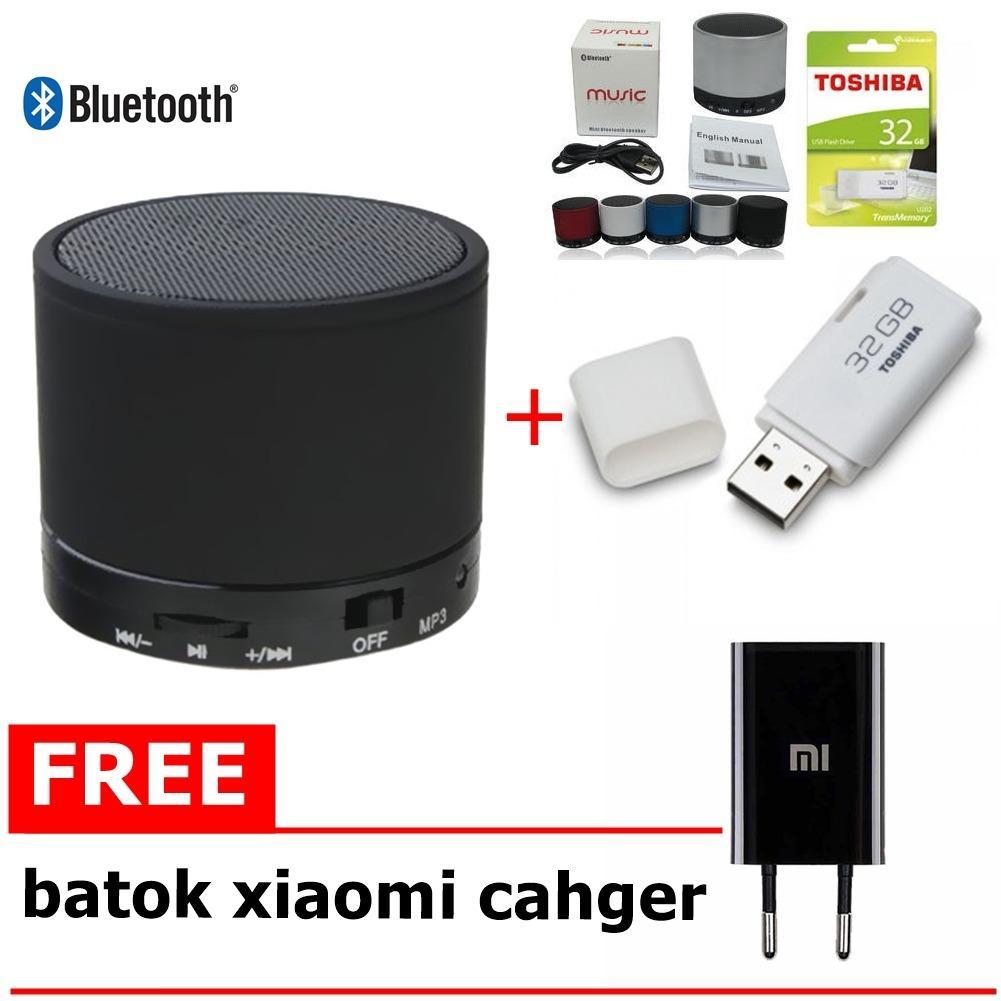 Speaker blototh Bluetooth S10 Big Bass + Flashdisk Hayabusa Toshiba 32GB Free batok xiaomi cahger
