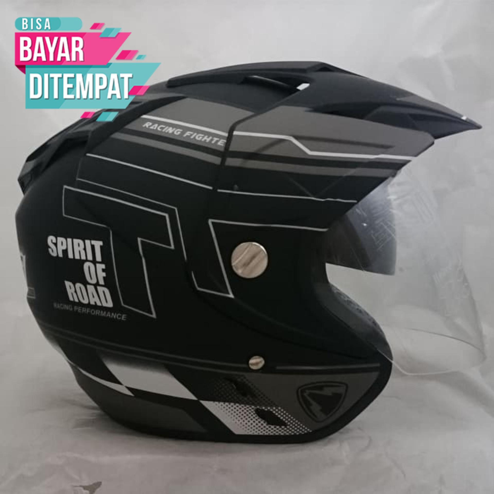 [Promo Best Seller] Helmet Double Kaca Visor DMN MotoGP - Black Doff Abu Kualitas Setara Helm KYT INK GM WTO MSR BMC NHK